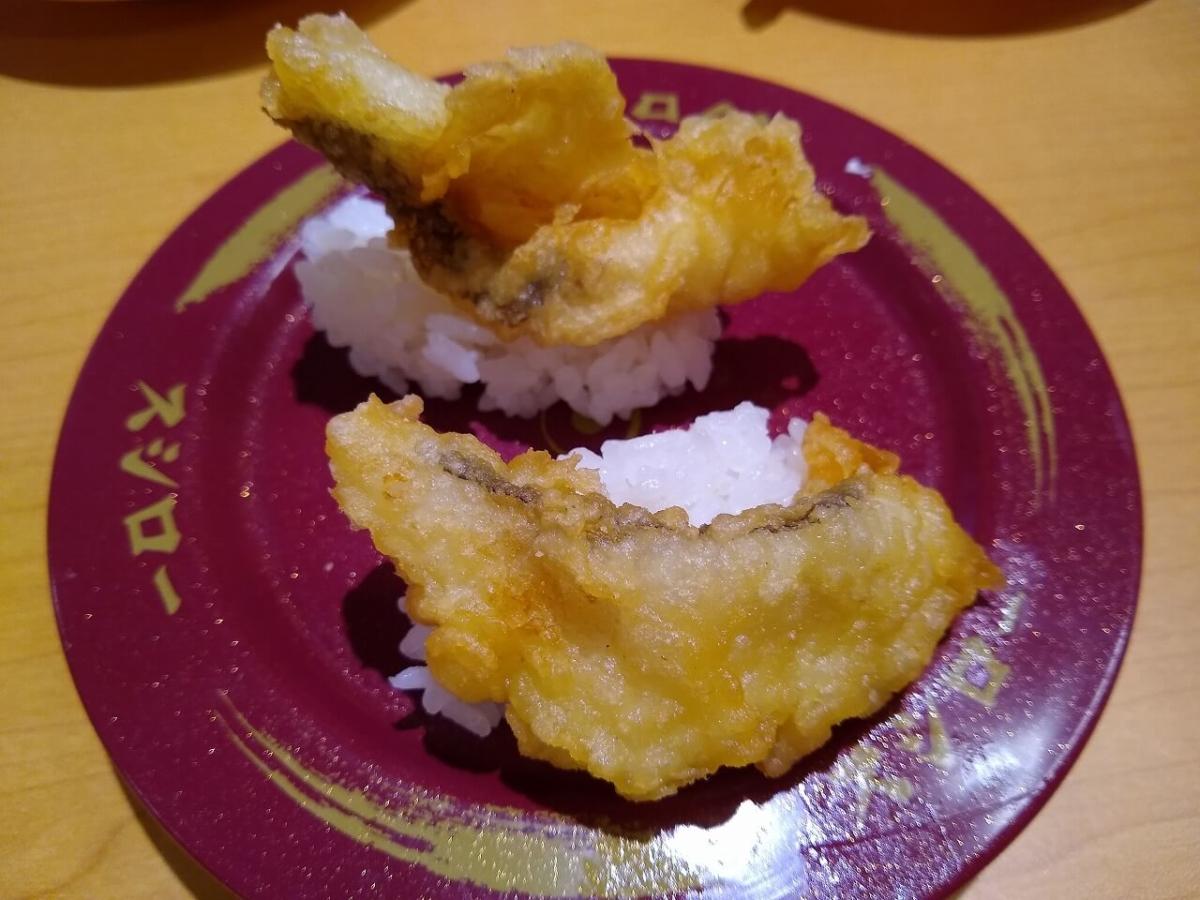 スシロー綱島店北海道うまいもん市真鱈の天ぷら握り
