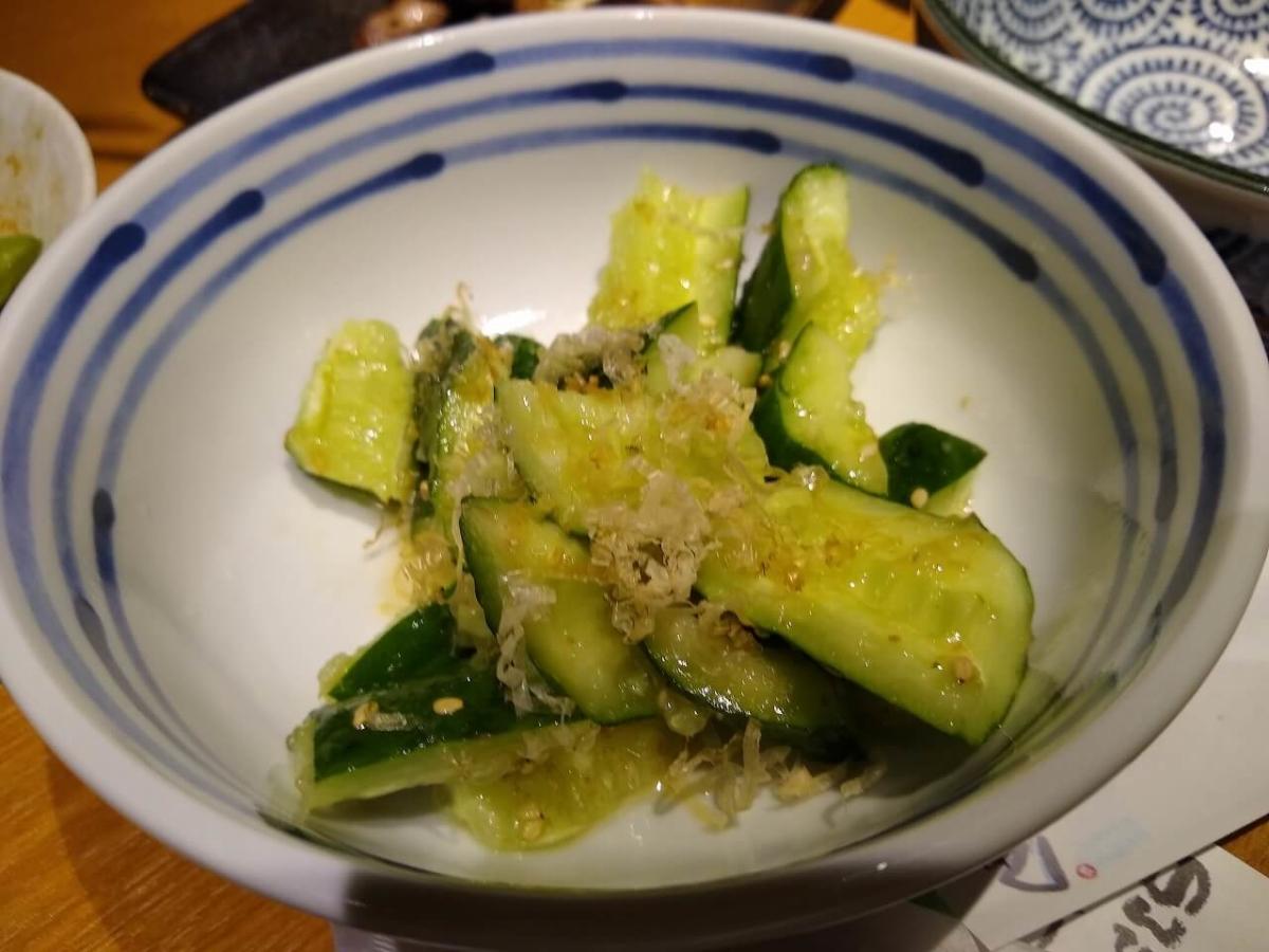 酉正の料理たたききゅうり