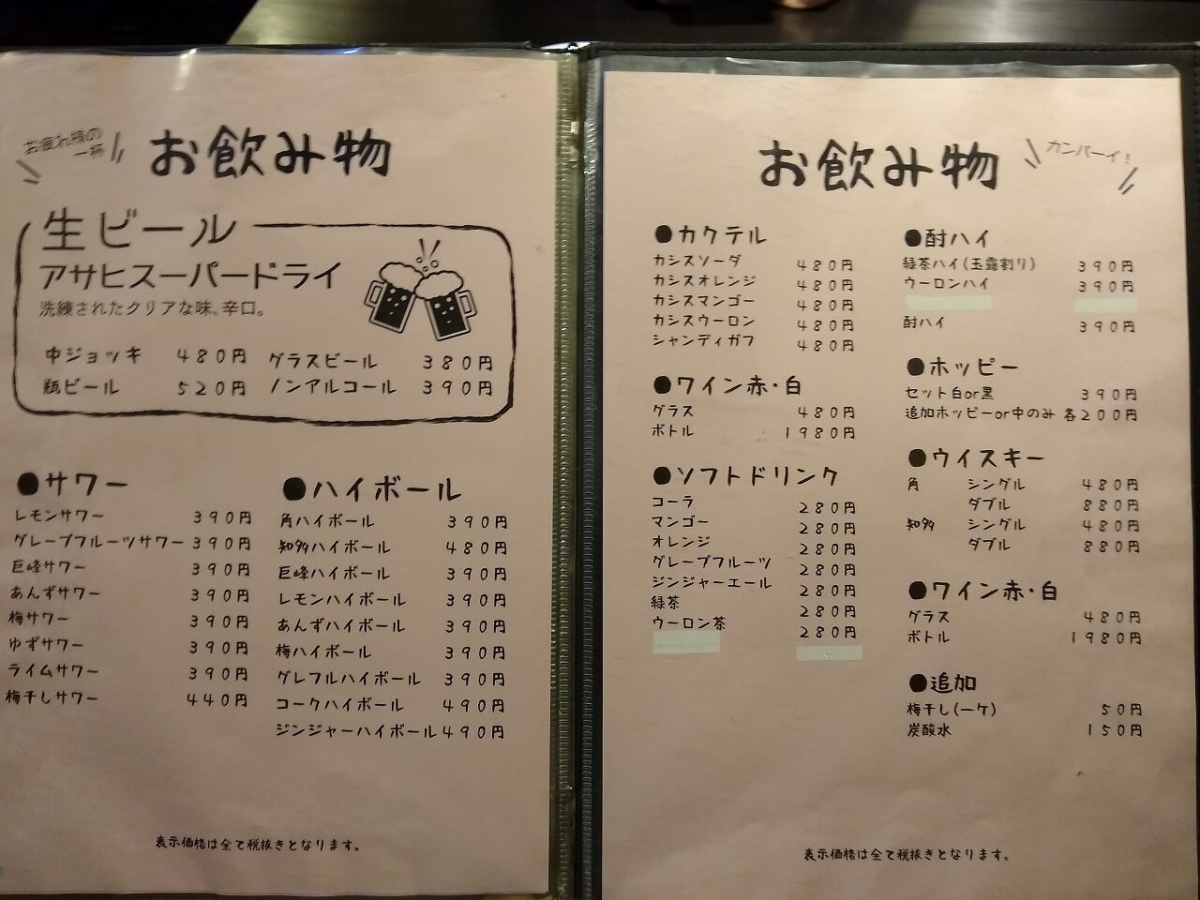 ホルモンしろ綱島店メニュー